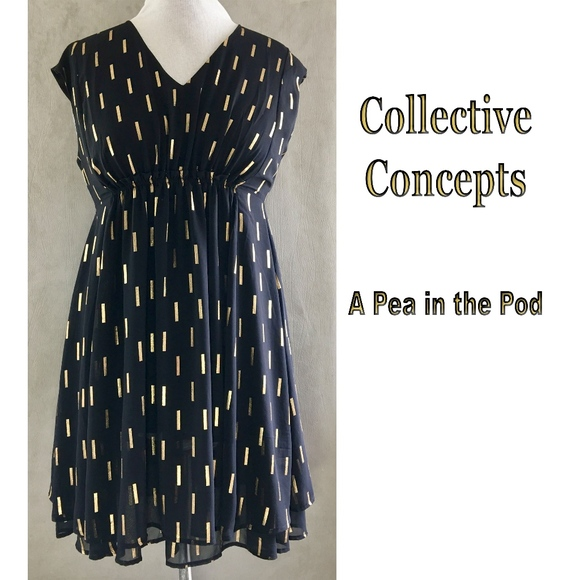 5dc2378a22d79 A Pea in the Pod Dresses & Skirts - Collective Concepts Gold on Black Maternity  Dress